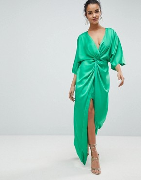photo Kimono Twist Front Maxi Dress by ASOS, color Bright Green - Image 1