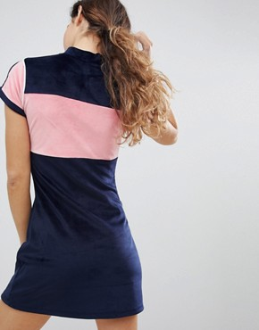 photo Velour Dress with Neck Zip by Lazy Oaf, color Navy - Image 2