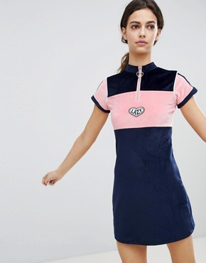 photo Velour Dress with Neck Zip by Lazy Oaf, color Navy - Image 1