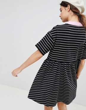 photo Oversized Smock Dress in Stripe by Lazy Oaf, color Black - Image 2