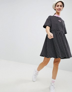 photo Oversized Smock Dress in Stripe by Lazy Oaf, color Black - Image 1