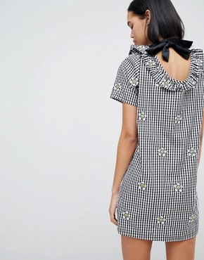 photo Gingham Dress with Floral Embroidery by Lazy Oaf, color Black - Image 2