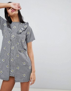 photo Gingham Dress with Floral Embroidery by Lazy Oaf, color Black - Image 1