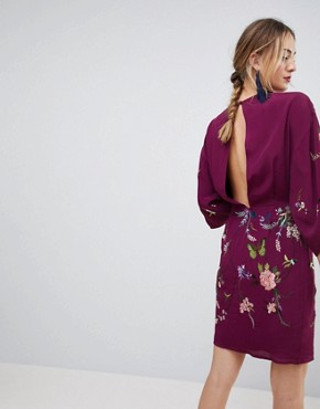 photo Kimono Mini Dress with Embroidery by ASOS TALL, color Plum - Image 2