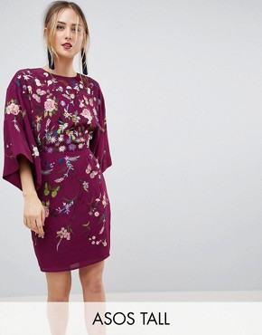 photo Kimono Mini Dress with Embroidery by ASOS TALL, color Plum - Image 1