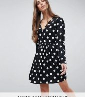 photo Tea Dress in Large Spot Print by ASOS DESIGN Tall, color Spot - Image 1