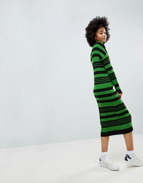 photo Knitted Midi Dress in Stripe by ASOS, color Multi - Image 2