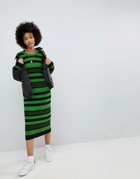 photo Knitted Midi Dress in Stripe by ASOS, color Multi - Image 1
