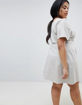 photo Button Through Mini Casual Skater Dress by ASOS CURVE, color Grey - Image 2