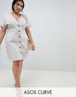 photo Button Through Mini Casual Skater Dress by ASOS CURVE, color Grey - Image 1