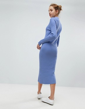 photo Directional Rib Knit Midi Dress by Weekday, color Bright Blue - Image 2