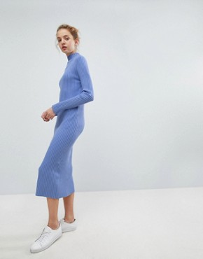 photo Directional Rib Knit Midi Dress by Weekday, color Bright Blue - Image 1