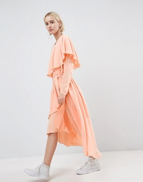 photo Soft Layered Maxi Dress by ASOS WHITE, color Peach - Image 1