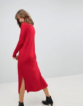 photo Midi Dress in Pleated Wide Rib by ASOS, color Tomato - Image 2