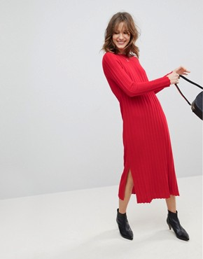 photo Midi Dress in Pleated Wide Rib by ASOS, color Tomato - Image 1