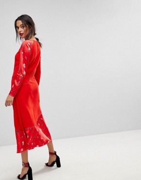 photo Colour Block Floral Dress by MAX&Co, color Red - Image 2