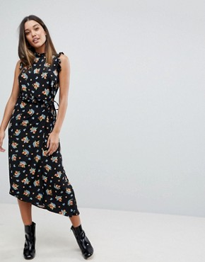 photo Midi Tea Dress in Dark Floral by ASOS, color Multi - Image 1
