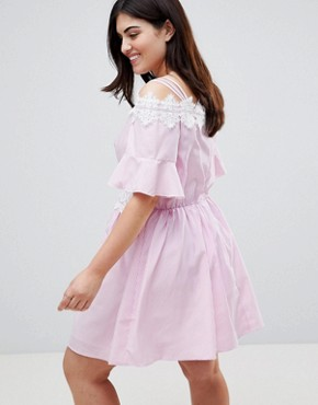 photo Stripe Lace Trim Cold Shoulder Skater Dress by Koko, color Pink - Image 2