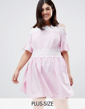photo Stripe Lace Trim Cold Shoulder Skater Dress by Koko, color Pink - Image 1
