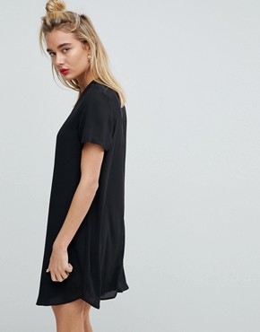 photo Sheer Shift Mini Dress by ASOS, color Black - Image 2