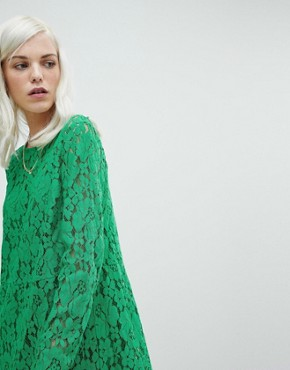 photo Lace Midi Swing Dress by ASOS, color Green - Image 3