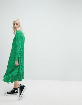 photo Lace Midi Swing Dress by ASOS, color Green - Image 4