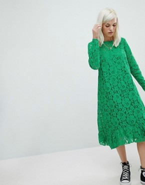 photo Lace Midi Swing Dress by ASOS, color Green - Image 1