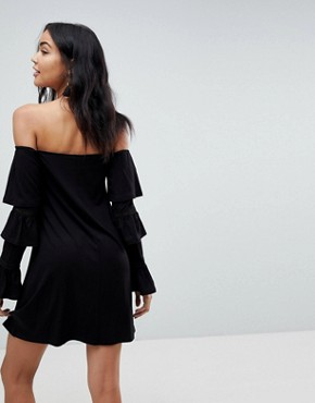 photo Off Shoulder Mini Sundress with Flamenco Sleeves by ASOS, color Black - Image 2