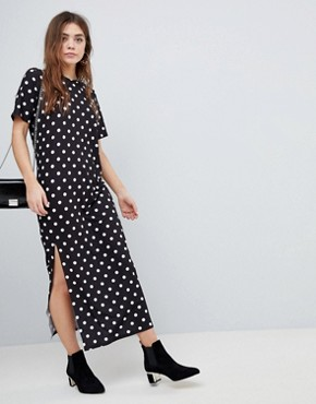 photo T-Shirt Maxi Dress in Polka Dot by ASOS ULTIMATE, color Polka Dot - Image 1