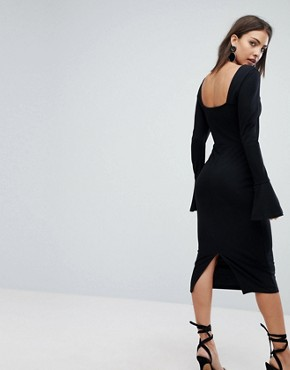 photo Sweetheart Neck Pencil Dress with Frill Cuffs by ASOS, color Black - Image 2