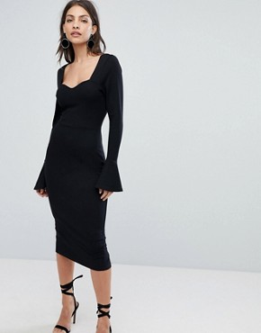 photo Sweetheart Neck Pencil Dress with Frill Cuffs by ASOS, color Black - Image 1