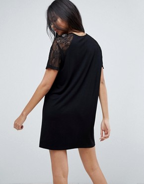 photo T-Shirt Dress with Lace Raglan Sleeve by ASOS, color Black - Image 2
