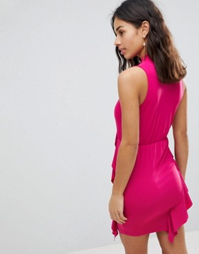 photo Ruffle Mini Bodycon Dress with Bow Neck by ASOS PETITE, color Hot Pink - Image 2