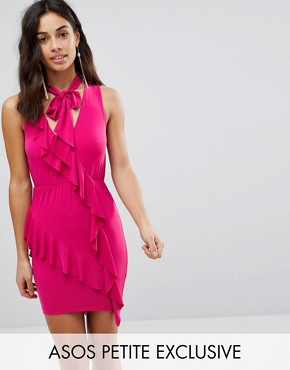 photo Ruffle Mini Bodycon Dress with Bow Neck by ASOS PETITE, color Hot Pink - Image 1