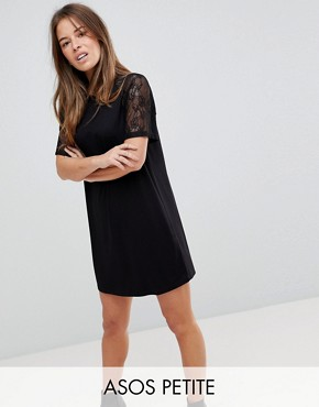 photo T-Shirt Dress with Lace Raglan Sleeve by ASOS PETITE, color Black - Image 1