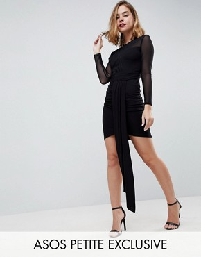photo Drape Front Mini Bodycon Dress with Mesh by ASOS PETITE, color Black - Image 1