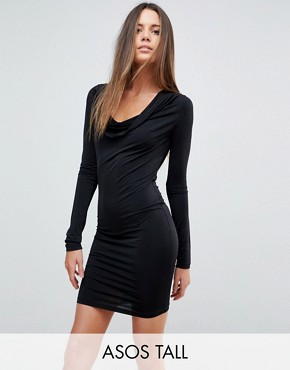 photo Plunge Cowl Neck Mini Bodycon Dress by ASOS TALL, color Black - Image 1