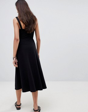 photo Midi Cotton Sundress with Cups by ASOS TALL, color Black - Image 2