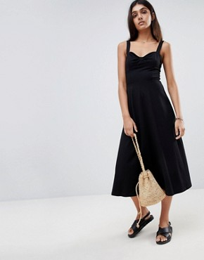 photo Midi Cotton Sundress with Cups by ASOS TALL, color Black - Image 4