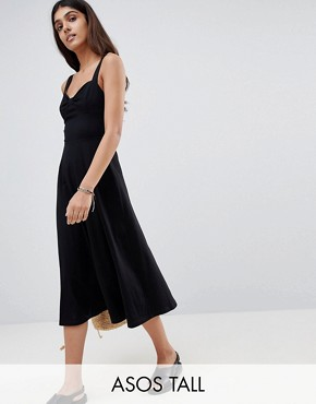 photo Midi Cotton Sundress with Cups by ASOS TALL, color Black - Image 1