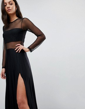 photo Pleated Dobby & Lace Top Long Sleeve Maxi Dress by ASOS TALL, color Black - Image 3