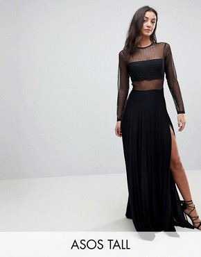 photo Pleated Dobby & Lace Top Long Sleeve Maxi Dress by ASOS TALL, color Black - Image 1