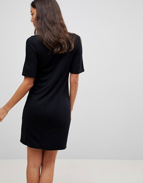 photo Mini T-Shirt Dress with Faux Leather Collar by ASOS TALL, color Black - Image 2