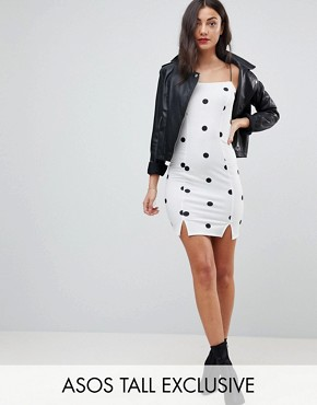 photo Cami Square Neck Polka Dot Mini Dress by ASOS TALL, color Multi - Image 1