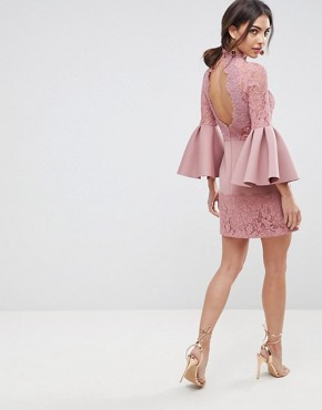 photo Lace Fluted Sleeve Scuba Skater Mini Dress by ASOS, color Rose - Image 2