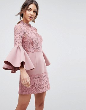 photo Lace Fluted Sleeve Scuba Skater Mini Dress by ASOS, color Rose - Image 1
