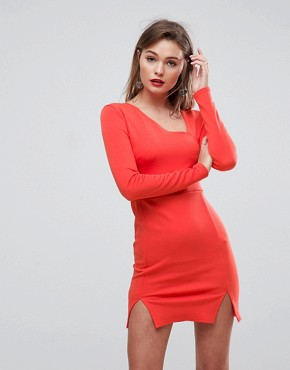 photo Cut Out Shoulder Pad Mini Dress by ASOS, color Orange - Image 1