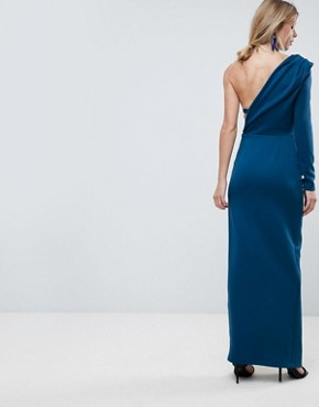 photo One Shoulder Long Sleeve Thigh Split Maxi Dress by ASOS, color Poseidon - Image 2