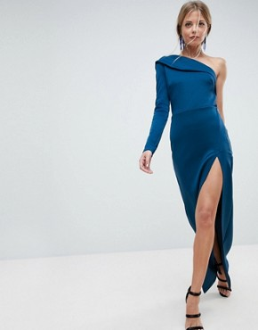 photo One Shoulder Long Sleeve Thigh Split Maxi Dress by ASOS, color Poseidon - Image 1
