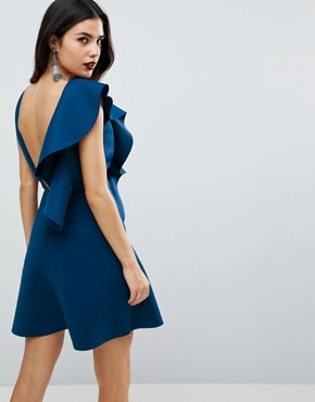 photo Ruffle Front Shift Dress by ASOS, color Blue - Image 2